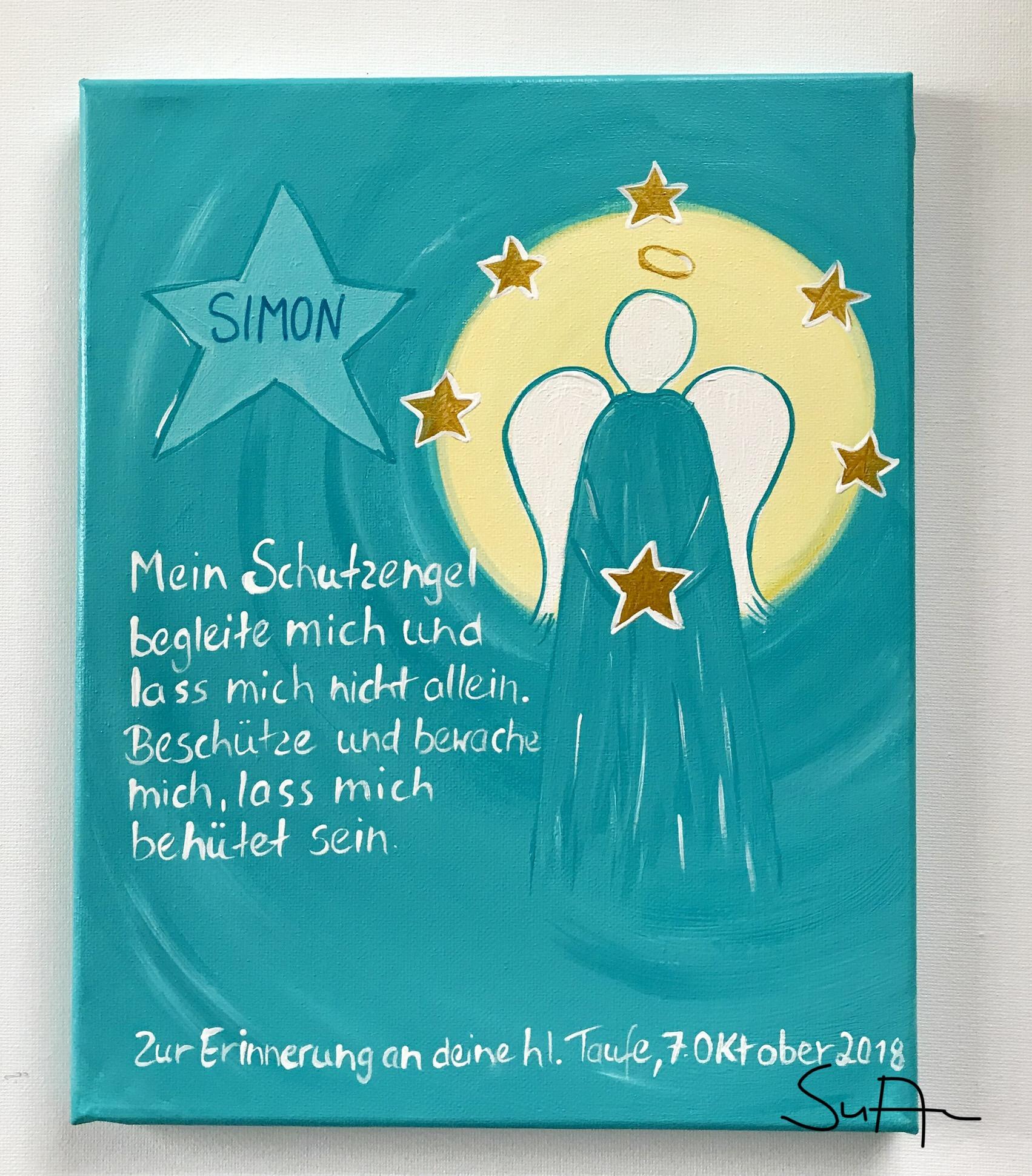 Geburt Bild Herz Hl Schutzengel und Kind Baby mit Engel Geschenk zur Taufe